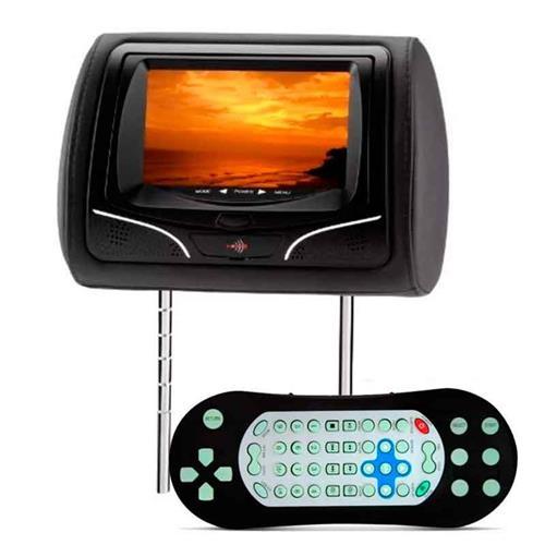 Encosto De Cabeça KX3 Preto Com Leitor Dvd Usb Joystick Lcd 7 Pol