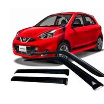 Calha Defletor de Chuva Nissan March 2011 a 2015 4 Portas Tg Poli