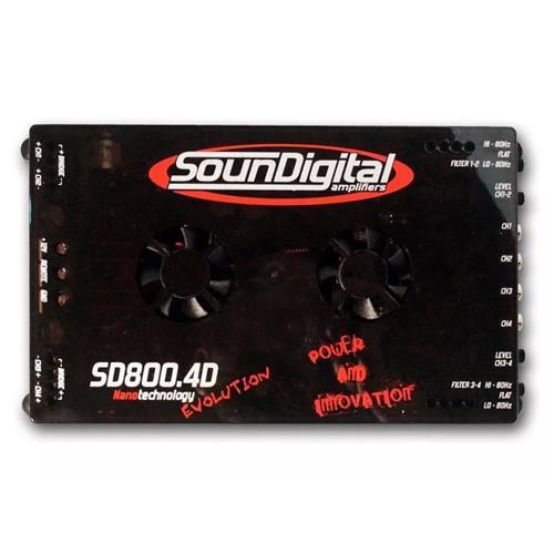 Módulo Amplificador de Som Automotivo SOUNDIGITAL SD800.4D 4 EVO OHMS