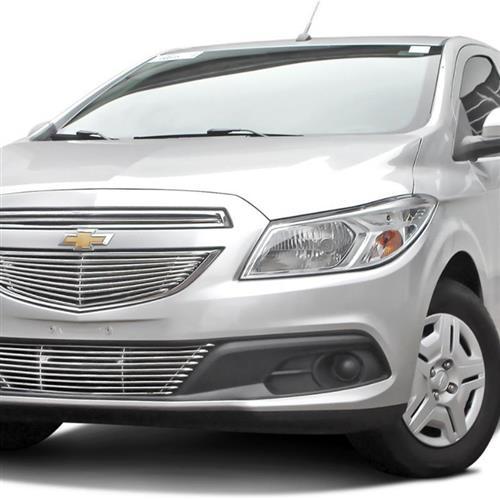 Sobre Grade Darta Chevrolet Onix 2011 a 2016 Horizontal Tubular Completa 3 Peças Inox