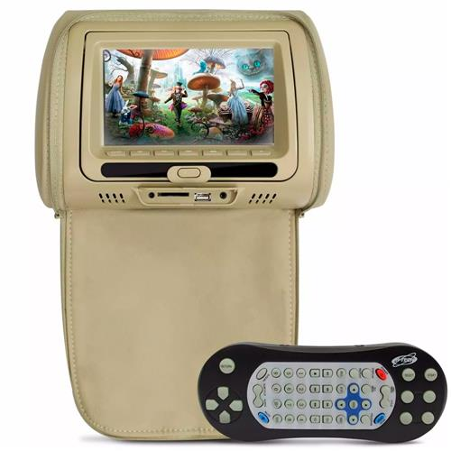 Encosto De Cabeça H-Tech Com Leitor Dvd Tela 7 Pol Com Ziper Bege