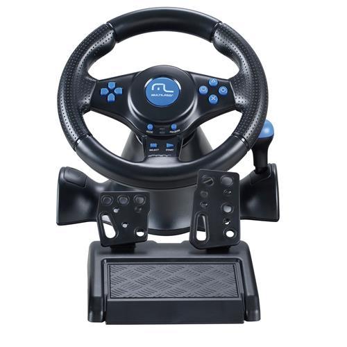 Volante Multilaser Racer JS073 3 em 1 PS2, PS3 e PC Preto