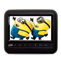 Encosto de Cabeça H-Tech Acoplar 7 Pol com Dvd Jogos e Controle Preto Cinza Bege
