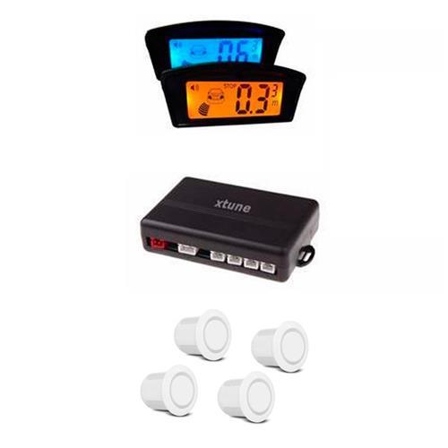 Sensor De Estacionamento Branco 4 Pontos Com Tela 2 X 1 LCD XTUNE