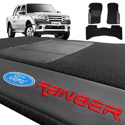 Jogo de Tapetes Bordado HITTO Completo Ford Ranger 1996 a 2012