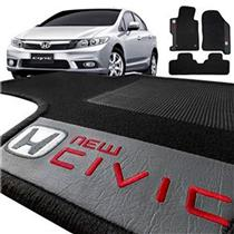 Jogo de Tapetes Bordado HITTO Completo Honda New Civic Ate 2011