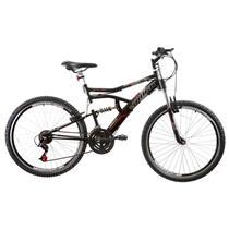 Bicicleta Track & Bikes Boxxer New PP Aro 26 21 Marchas Freios VBrake Suspensao Central Preto Fosco