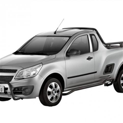 Para-choque de Impulsão Bepo Quebra Mato com Barra Preto para Chevrolet Montana 2004 Até 2010