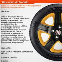 Jogo de Calotas Aro 14 Podium P20BY Strada Working 14 Fiat Preto com Amarelo Parafusada