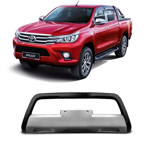 Bumper Frontal TGPoli Nova Toyota Hilux 2016 Preto Com Prata