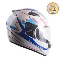 Capacete Moto EBF New Spark Tech B02 Fechado 56 Branco Azul