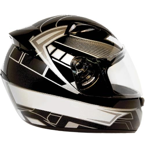 Capacete Moto EBF New Spark Six P04 Fechado 56 Preto Prata