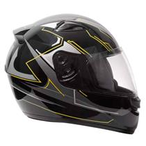Capacete Moto EBF New Spark Tech P01 Fechado 56 Preto Amarelo