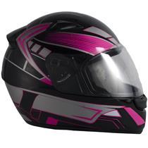 Capacete Moto EBF New Spark Six P07 Fechado 58 Preto Rosa