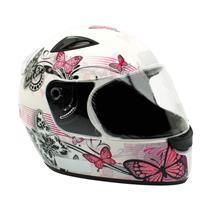 Capacete Moto EBF New Spark Borboletas B07 Fechado 56 Branco Rosa
