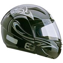 Capacete Moto EBF E08 Tribal P04 Articulado 58 Preto Prata