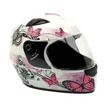 Capacete Moto EBF New Spark Borboletas B07 Fechado 58 Branco Rosa