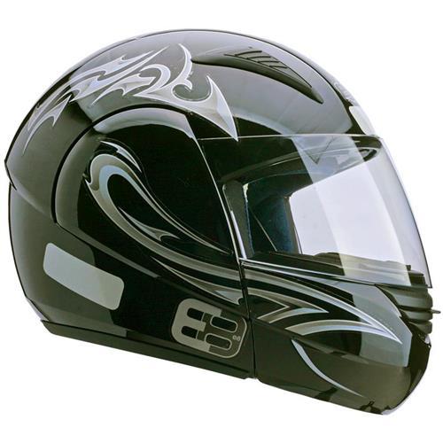 Capacete Moto EBF E08 Tribal P04 Articulado 60 Preto Prata