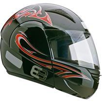 Capacete Moto EBF E08 Tribal P05 Articulado 58 Preto Vermelho