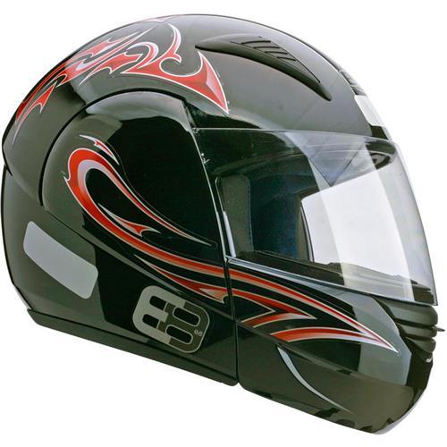 Capacete Moto EBF E08 Tribal P05 Articulado 60 Preto Vermelho