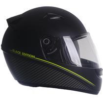 Capacete Moto EBF Spark Black Edition F01 Fechado 56 Preto Fosco Verde