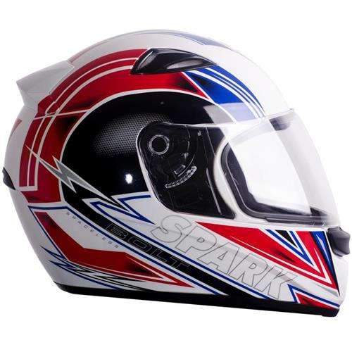 Capacete Moto EBF New Spark Bolt B05 Fechado 58 Branco Vermelho