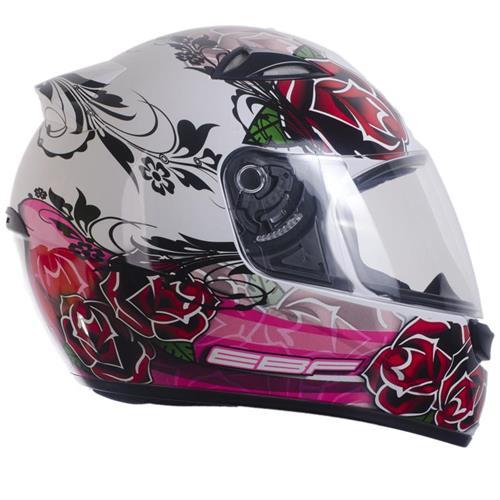 Capacete Moto EBF EOX Roses Fechado 60 Branco