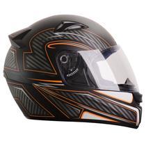 Capacete Moto EBF EOX Extreme F06 Fechado 58 Preto Fosco Laranja