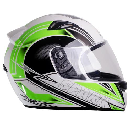 Capacete Moto EBF New Spark Bolt B10 Fechado 60 Branco Verde