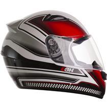 Capacete Moto EBF EOX Azzurra B05 Fechado 56 Branco Vermelho