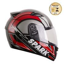 Capacete Moto EBF New Spark Bolt P05 Fechado 56 Preto Vermelho