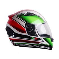 Capacete Moto EBF EOX Azzurra B10 Fechado 56 Branco Verde