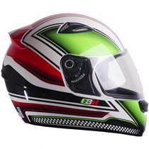 Capacete Moto EBF EOX Azzurra B10 Fechado 60 Branco Verde