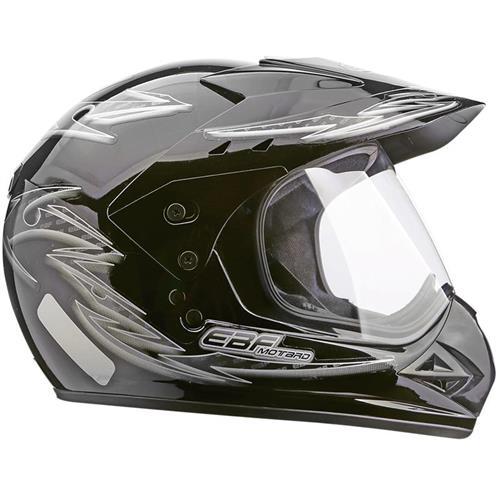 Capacete Moto EBF Motard Street Cross P04 56 Preto Prata