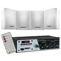 Kit Sonorização de ambientes FRAHM 1 Amplificador Slim 1000 Plus e 4 Caixas Ps 200 Plus