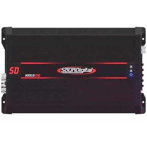Módulo Amplificador de Som Automotivo Soundigital SD8000 Black 1D EVO 1 Ohm