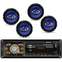 Kit Prático Hurricane 2 Pares de Alto Falante Cm6 e Radio Hr 414 Bluetooth