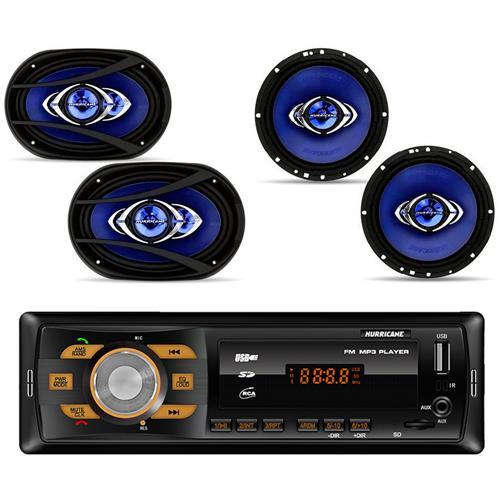 Kit Prático Hurricane 1 Par de Alto Falante Cm6 + 1 Par de Alto Falante 6x9 + Radio Hr 414 Bluetooth