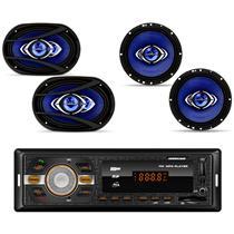 Kit Prático Hurricane 1 Par de Alto Falante Cm6 + 1 Par de Alto Falante 6x9 + Radio Hr 420 Bluetooth