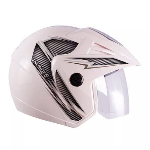 Capacete Moto THUNDER OPEN PRIME 58/Branco/ Prata