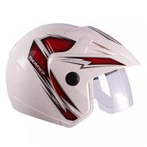 Capacete Moto THUNDER OPEN PRIME 58/Branco/Vermelho