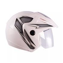Capacete Moto THUNDER OPEN PRIME 60/Branco/Prata