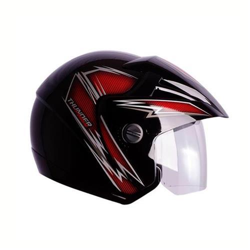 Capacete Moto THUNDER OPEN PRIME 60/Preto/Vermelho