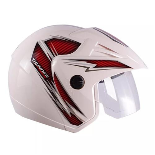 Capacete Moto THUNDER OPEN PRIME 60/Branco/Vermelho