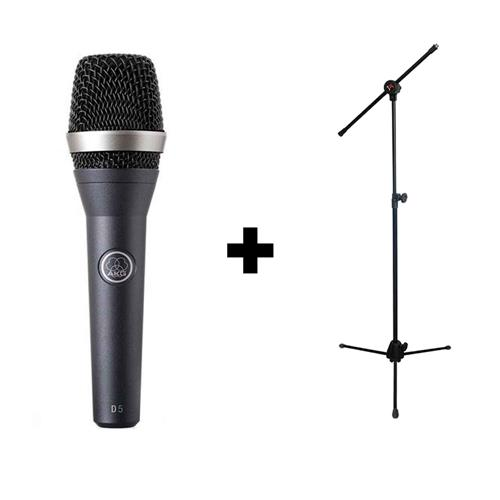 Kit Microfone c/fio D5 AKG + Pedestal Saty PMG10